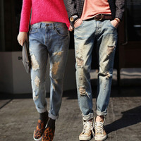 Wholesale Designer Mens Jeans Dark Blue - Wholesale-2015 New Famous Brand Vintage Men designer Casual Hole Ripped Jeans Mens Fashion Skinny Denim Pants Silm Fit Male Trousers