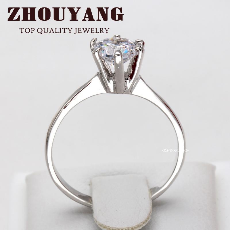 Wholesale Zyr013 Six Claw Cz Diamond Platinum Plated Princess Cut