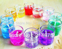 Wholesale Gel Wax For Candles Wholesale - Wholesale-Free Shipping 48pcs Lot Jelly candle Holiday Glass Jar Candles Wholesale for home decoration