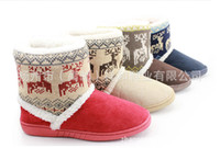 Wholesale Cotton Fabric Deer - Wholesale-2015 Shoes Special Warm Home Shoes Cotton Snow Deer winter australia women ankle sleepskin Indoor shoes women fur slippers