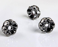 8MM Copper Plated Gun Metal Black, Clear Crystal Rhinestone Spacer Beads Jewelry Findings-100PCS