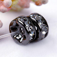 8MM en forme de roue en plaqué Gun Metal Black Tone, Clear Crystal Rhinestone Spacer Bead Findings-100PCS