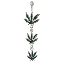 Wholesale Pot Leaf Body Jewelry - Wholesale-Rasta Pot Leaf Jamaican Gem Belly Button Ring,Navel Ring, Body Piercing Jewelry,nice and new style