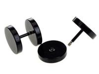 Wholesale fake ear gauges - Wholesale-10pcs Black Stainless Steel Fake Cheater Ear Plugs Gauge Body Jewelry Pierceing