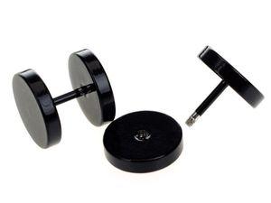 Wholesale-10pcs Black Stainless Steel Fake Cheater Ear Plugs Gauge Body Jewelry Pierceing