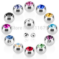 Wholesale Eyebrow Gem - Wholesale-Threaded 316L Surgical Stainless Steel Press Fit 3mm Gem Ball Eyebrow Ring Labret Body piercing jewelry Nose Replacement Parts