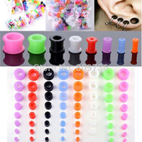Wholesale Flesh Silicone Plugs - Wholesale-8pcs Thin Silicone Flexible Hollow Ear Skin Flesh Tunnels Ear Plugs Gauges Earlets 3-12mm Body Jewelry Free