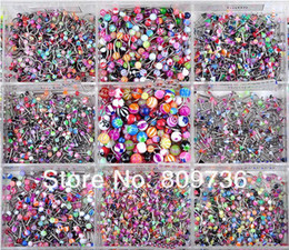 Wholesale Lip Rings Jewelry Labret - Wholesale-Chic New Wholesale Lots 90pcs Mixed 9 styles Body Piercing Jewelry Tragus Labret Bar Lip Rings Punk Unisex Jewelry