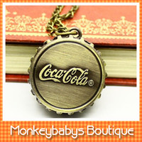 Wholesale Old Fashioned Necklace Watch - Wholesale-Vintage Cola Design Pocket watches for men women old-fashion fob watches necklaces fashion decoration gift #W0027