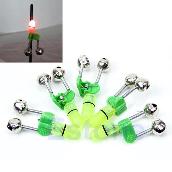 Wholesale-10Pcs / Lot Nacht Angel Rod Tipp rote LED Licht Twin Bell Ring Fischköder Alarm Kostenloser Versand