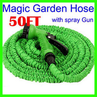 Wholesale Expandable Ft - Wholesale-Free Shipping 50 FT Foot Expandable Retractable Flexible 50FT Magic Garden Water Watering hose pipe For Car with Gun