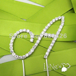 Wholesale Wedding Cake Toppers Diamante Monogram - Wholesale-1 pieces Monogram Silver Diamante Letter 'A' Wedding Cake Topper - FREE SHIPPING