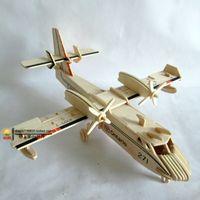 Wholesale Diy Wooden 3d - Wholesale-New fancy Intelligent toy 3D plane model WOODEN PUZZLE DIY WOODCRAFT CONSTRUCTION KIT handmade Amphibious aircraft W032