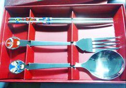 Wholesale Opera Settings - Stainless Steel Dinnerware(3pcs set ) Facebook Spoon,Chopsticks &Fork Peking Opera Gifts