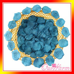 Wholesale Teal Blue Wedding Decorations - Wholesale- Brand New 100pcs lot Teal Blue Silk Rose Petals Flower Used Directly Wedding Party Decoration Supply Colors