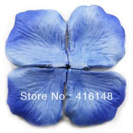 Wholesale Silk Petals Wedding Favors - Wholesale-1000pcs-1200pcs Silk Flower Rose Petals Wedding Decoration Flowers Favors New Colors --Light blue blue