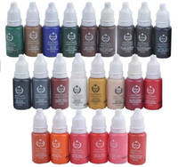 Wholesale Tattoo Paint Sets - Wholesale-10pcs colors biotouch tattoo ink set permanent makeup pigments 15ml cosmetic tattoo ink paint for eyebrow eyeliner lip
