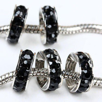 Wholesale Jet Beads Wholesale - 100pcs 10mm Jet Black Rhinestone Crystal Rondelle Spacers European Big Hole Beads For Charm Bracelet Chain Jewelry Findings free shipping