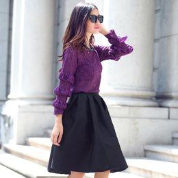 Wholesale Ladies Elegant Skirt Suits - Wholesale-2015 Women Set spring new Europe and America Purple Lace Tops + Black Tutu skirts ladies elegant suits LQ8684