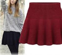 Wholesale High School Girl Mini Skirt - Wholesale-School Girl Sweet Pleated Tricot Croche Mini Skirts fluffy High Waist saia bottoms clothing 2015 new Winter Female Skater Skorts
