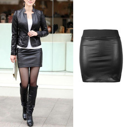 Wholesale-Sexy Women Bodycon Skirt PU Leather Mini Short Skirt Black