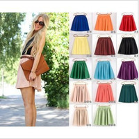 Wholesale Double Layer Chiffon Skirt - Wholesale-spring 2015 19 color women soft chiffon Short skirt bohemian pleated Short Skirts lady high quality double layer chiffon Skirt