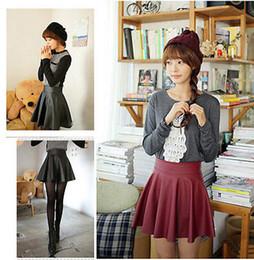 Wholesale Girls Leather Mini Skirts - Wholesale-Women Girl Faux Leather High Waist Skater Flared Pleated Short Mini Skirt