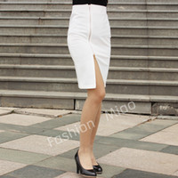 Wholesale Pencil Skirt Looks - Wholesale-2015 Summer Lady Office-look Front Zipper Split Pencil Skirt Women Show Slim High Elastic Casual OL Knee-length Skirt