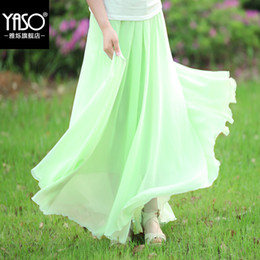 Wholesale Long Chiffon Expansion Skirt - Wholesale-Spring and summer 2015 plus size skirts expansion skirt slim waist skirts medium-long chiffon skirt