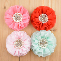 "Wholesale Beaded Hair Colors - Wholesale-New Stock Handmade 3"" Beaded Chiffon Flowers Pearl Rhinestone Ruffled Flower 16 colors Hair Accessories Free Shipping 30pcs"