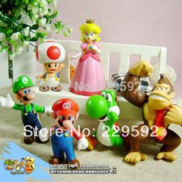 Wholesale Super Mario Toad Figure - Wholesale-Free shipping 6pcs set Super Mario Bros Luigi Toad Mario Action Figures Toys Doll children toys PVC figure kids toys boys girls