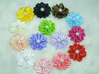 Wholesale Appliques For Clips - Wholesale-Mini Cute Satin Ribbon Multilayers flower with Pearl Appliques Fabric flower for headband clips Hair accessories 100pcs lot