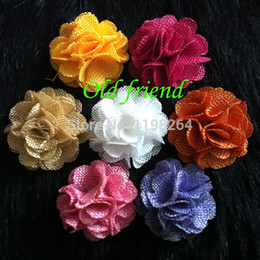 """Wholesale Stock Flowers For Headbands - Wholesale-2"""" Burlap Flowers DIY Farib hair flower For baby's Headbands Clothing Dress 60pcs lot 12 color In stock free shipping"""