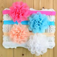 """Wholesale Eyelet Lace - Wholesale-150pcs Wholesale 3.1"""" Chiffon pink Eyelet Flower headband Baby Girls Elastic lace Headband Hair Band Boutique Style FD089"""