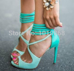 Wholesale Chunky Sandals Girls - Wholesale-Free Shipping 2015 Girls latest elegant turquoise ankle straps high heels sandals women leather sandals