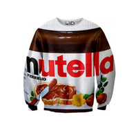 Wholesale Plus Size Galaxy Sweater - Wholesale- New fashion women men novelty printed nutella 3D Hoodies sweaters Galaxy sweatshirts plus size