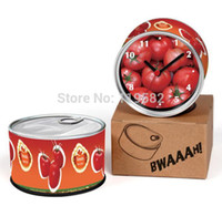Wholesale Magnetic Wall Clock - Wholesale-New Arrival Fanny Gifts Tomato Can Clocks Magnetic Cheap Wall Tin Clocks Cheap Desk Clocks Cheap Table Clocks Free Shipping