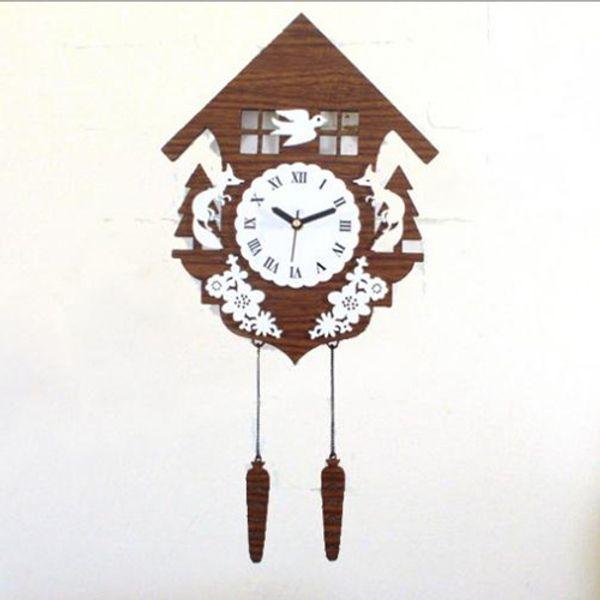 Wholesale-Clocks Forest Cabin Wall Clock Vintage Garden Wood Watch Wall Novelty Fox Bird Wall Sticker Home Decoration GZ88171