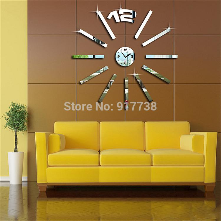 Wholesale Home Decoration Rectangle Mirror Effect Wall Clock Modern ...