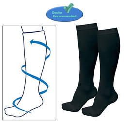 Wholesale Veins Legs - Wholesale-Wholesale 10PCS=5 Pairs Unisex Varicose Vein Stocking Running Travel Knee High Relief Support Compression Socks Black White
