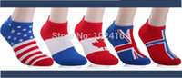 Wholesale Ankle Socks Trade - Wholesale-2015 World Cup flags socks Men's cotton trade socks invisible socks summer new direct World Cup flags free shipping,5pairs lot