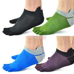 Wholesale Toe Socks For Fingers - Wholesale-5 Pair Lot Men's Socks 100% Cotton Meias Colorful Sports Five Finger Socks Toe Socks For EU 40-46 Size Mix Colors Drop