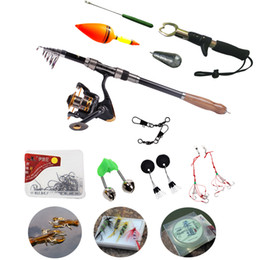 Wholesale Cheap Fly Rods - Wholesale-Very Cheap 2.7M Portable Carbon Telescopic Fishing Rod Spinning Fishing Rod With AF4000 Fishing Reel Spinning Fishing Rod Set