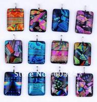 Wholesale Murano Mix Order - Wholesale-0.78*1.17inch Rectangular dichroic glass jewelry murano glass pendant dichroic glass pendants mixed order 20pcs lot