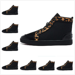 Wholesale Wide Horsehair - Wholesale-Size:36-46 Men's Women's Black Leather Leopard Print Genuine Horsehair Red Bottom Sneakers,Unisex Luxury Fashion High Top