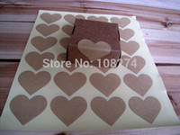 Wholesale Paper Boxes For Cakes - Wholesale-Free shipping+600pcs Eco-Friendly kraft paper heart Shape label stickers For party Decorative Cake box sealing paste
