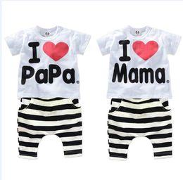2019 mamá papá camisa Al por mayor-nuevos niños y bebés ropa conjunto 100% 5c8bec46c501