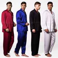 Wholesale Silk Onesies - Wholesale-Mens Silk satin Pajamas Pajama Pyjamas PJS Sleepwear Set U.S.S,M,L,XL,XXL,XXXL Pants Solid Black White