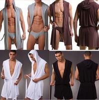 Wholesale Male Sleepwear Underwear - Wholesale-Men Sexy Bathrobe Bath Robe   Male Sexy Underwear Sleepwear Pajamas   Men Nightgown Robes Without Briefs