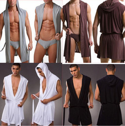 Wholesale Men Polyester Bathrobes - Wholesale-Men Sexy Bathrobe Bath Robe   Male Sexy Underwear Sleepwear Pajamas   Men Nightgown Robes Without Briefs